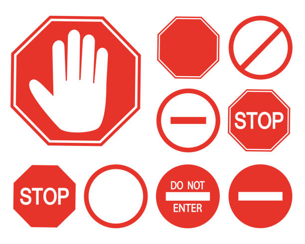 Set: Stop, staff only Set: Stop stop stock illustrations