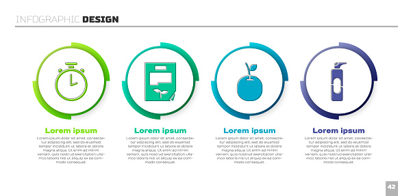 Set Stopwatch, Leaf document, Apple and Spray can for hairspray. Business infographic template. Vector