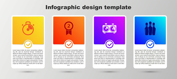 Set Stopwatch, Medal, Time chess clock and Bowling pin. Business infographic template. Vector