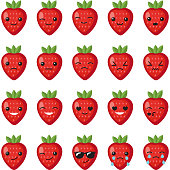 Set strawberry emotions face. Set strawberry smileys. Strawberries