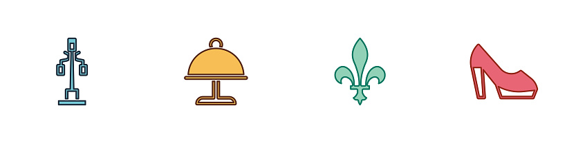 Set Street light, Covered with tray, Fleur De Lys and Woman shoe icon. Vector