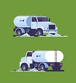 set street sweeper truck washing asphalt with water industrial vehicle cleaning machine urban road service concept back front view flat green background vertical vector illustration