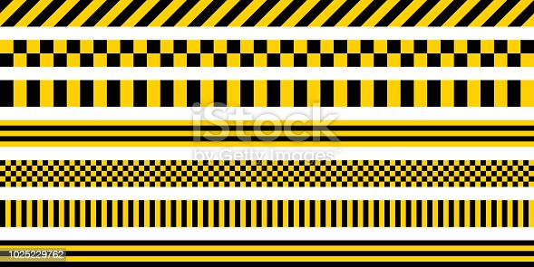 Set of stripes yellow and black color, with industrial pattern, vector safety warning stripes, black pattern on yellow background
