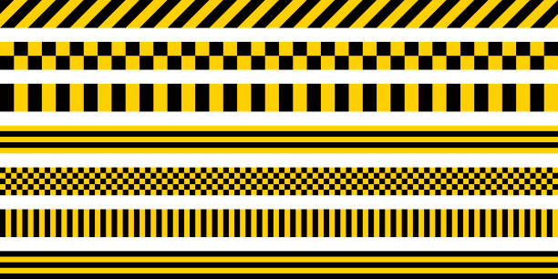 set stripes yellow and black color, with industrial pattern, vector safety warning stripes, black pattern on yellow background - yellow stock illustrations