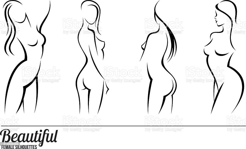 Set stylized beautiful women silhouettes vector art illustration