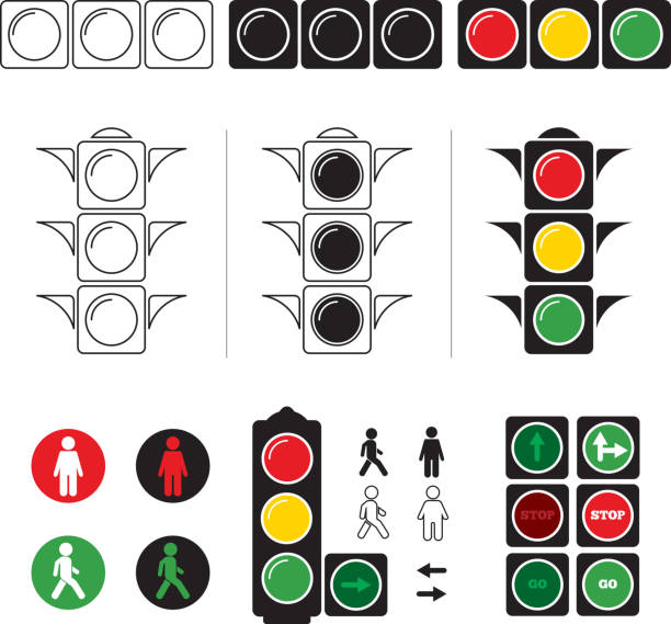 set stylized illustrations of traffic light with symbols - stoplights stock illustrations, clip art, cartoons, & icons