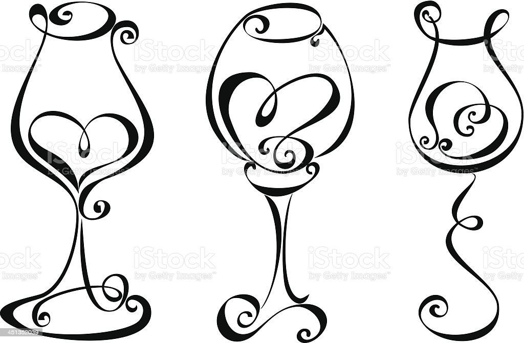 Set stylized wine glass with heart shape royalty-free stock vector art