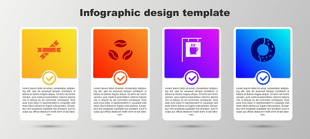 Set Sugar stick packets, Coffee beans, Street signboard coffee and Donut with sweet glaze. Business infographic template. Vector