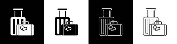 Set Suitcase for travel icon isolated on black and white background. Traveling baggage sign. Travel luggage icon. Vector Illustration Set Suitcase for travel icon isolated on black and white background. Traveling baggage sign. Travel luggage icon. Vector Illustration airport clipart stock illustrations