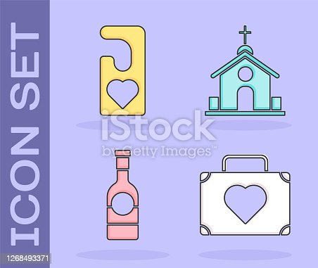 istock Set Suitcase for travel with heart, Please do not disturb with heart, Champagne bottle and Church building icon. Vector 1268493371