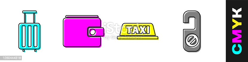 istock Set Suitcase, Wallet, Taxi car roof and Please do not disturb icon. Vector 1250444318