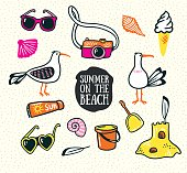 A set of cute summer and beach icons. Vector hand drawn illustration. Summer design elements isolated on the sand background.