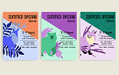 Set summer open air festival graphic poster with animals. Deer, bear and fox. Vector illustration.