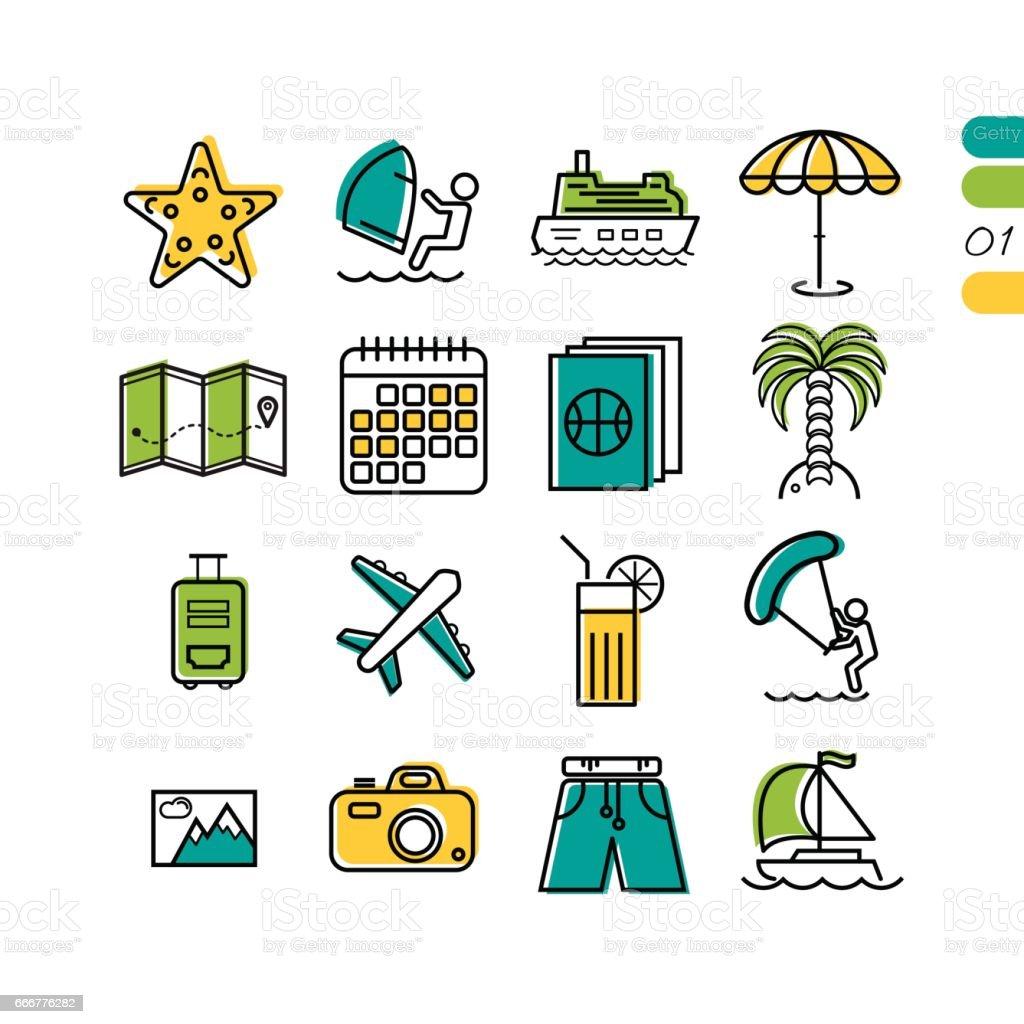 Ställa in sommarlovet linjär färgade ikoner vektorkonstillustration