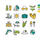 Vector set summer holiday linear colored icons. Beach and water activity icons - yacht, sunglasses, surfboard, ice cream, dolphin, flippers and mask with tube and sand castle