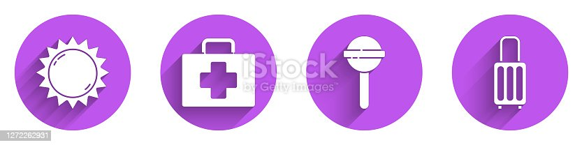 Set Sun, First aid kit, Lollipop and Suitcase icon with long shadow. Vector