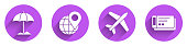 Set Sun protective umbrella for beach, Location on the globe, Plane and Travel ticket icon with long shadow. Vector