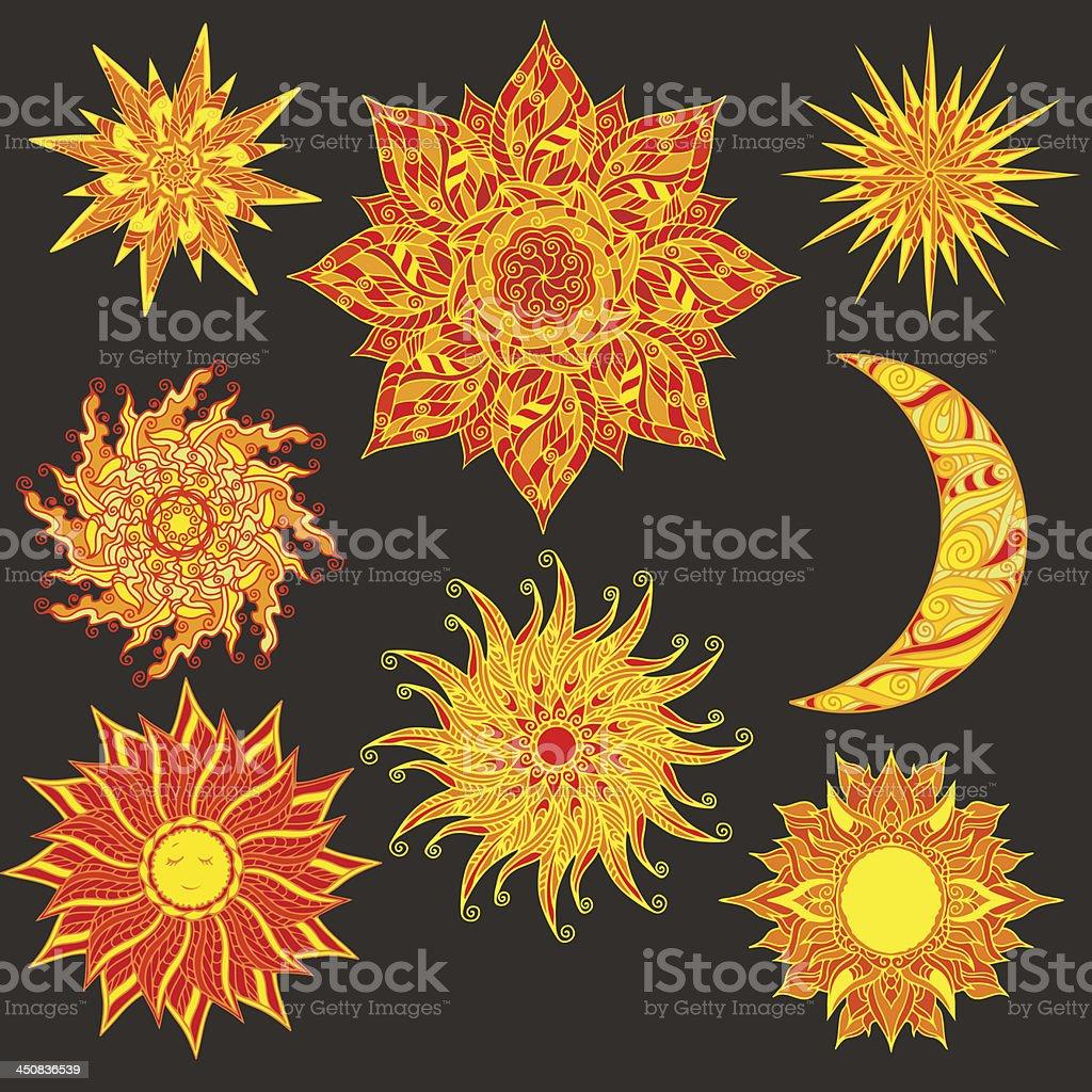 Pôr do sol, a lua e estrelas - ilustração de arte em vetor