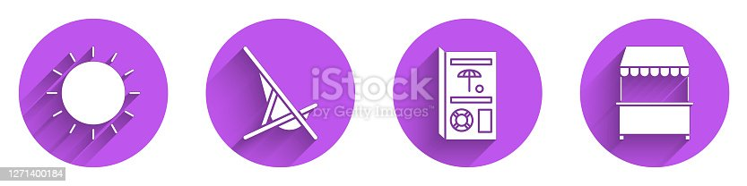 Set Sun, Sunbed, Travel brochure and Street stall with awning icon with long shadow. Vector