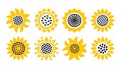 Set Sunflower icons isolated on white background. Vector floral illustration bundle. Botanical summer concept. For cutting, clipart, printing, monogram, shirt design.