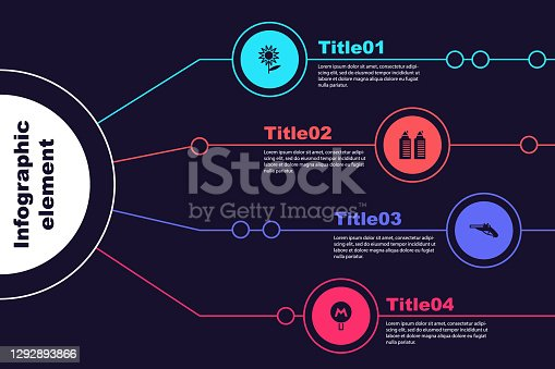 istock Set Sunflower, Two towers in Dnipro, Vintage pistols and Metro or Underground. Business infographic template. Vector 1292893866