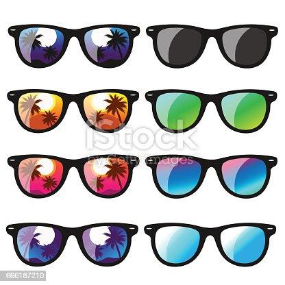 istock set sunglasses. vector illustration 666187210