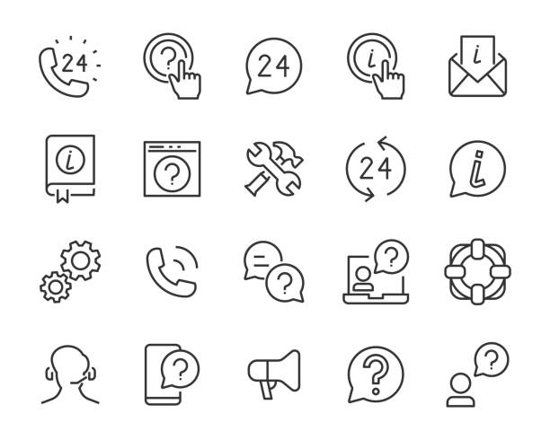 set support icons, call center, customer, assistant, info - call center stock illustrations