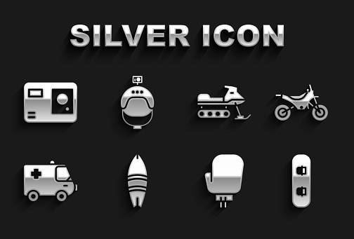 Set Surfboard, Mountain bike, Snowboard, Boxing glove, Ambulance and emergency car, Snowmobile, Action extreme camera and Helmet action icon. Vector