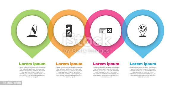 istock Set Surfboard, Please do not disturb, Airline ticket and Location on the globe. Business infographic template. Vector 1315621858