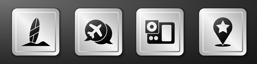 Set Surfboard, Speech bubble with airplane, Photo camera and Map pointer with star icon. Silver square button. Vector