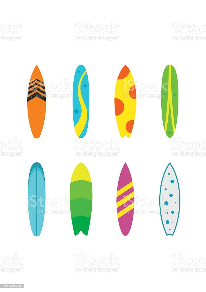 Set surfboards with different designs flat. Summer sport surfing board vector art illustration
