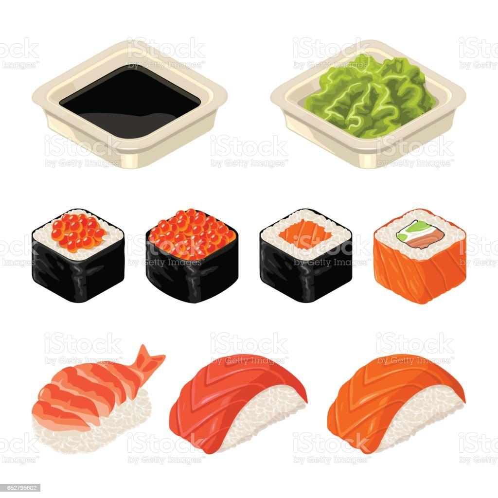 寿司ロール、わさびと醤油のソースを設定します。白い背景上に分離。 ベクターアートイラスト