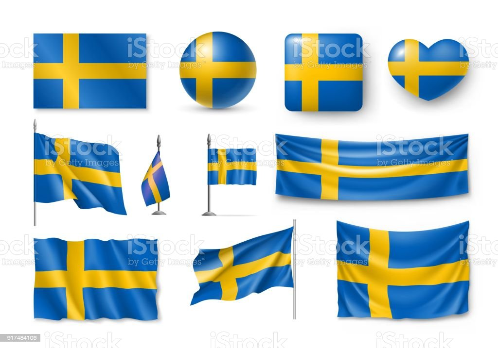 Set Schweden-Flags, Banner, Fahnen, Symbole, flach-Symbol – Vektorgrafik