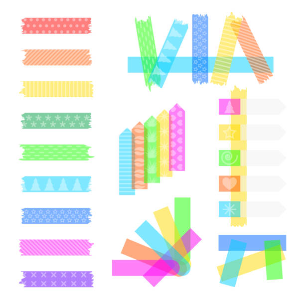 ilustrações de stock, clip art, desenhos animados e ícones de set sweet sticky tapes - fita adesiva