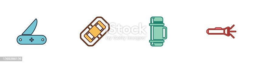 Set Swiss army knife, Rafting boat, Thermos container and Flashlight icon. Vector.