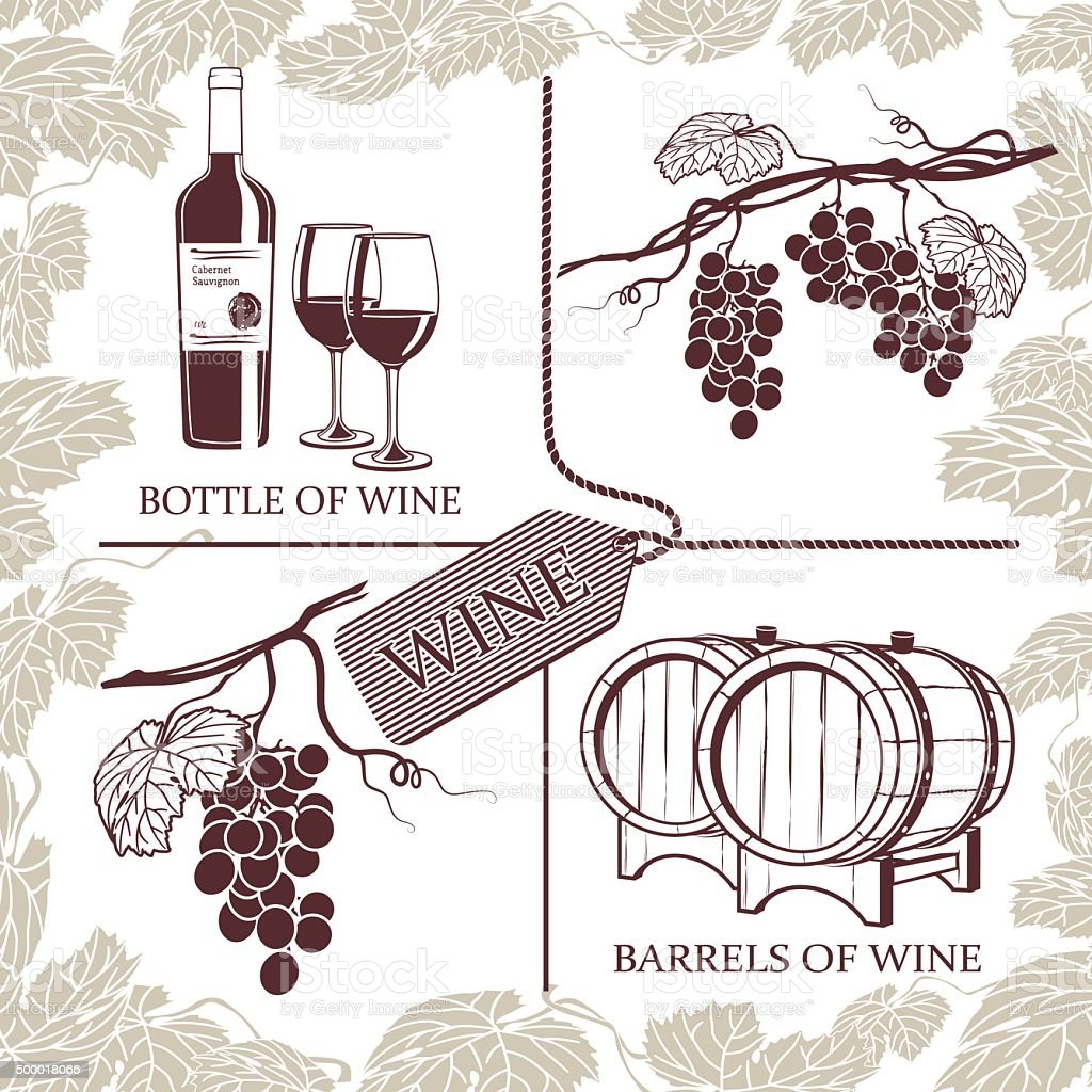 Set symbols of grapes, red wine and winemaking vector art illustration