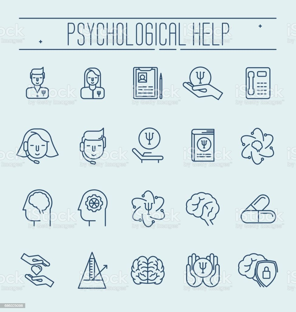 Set symbols of psychological help. Vector thin line illustration. Health care and social care symbols. vector art illustration