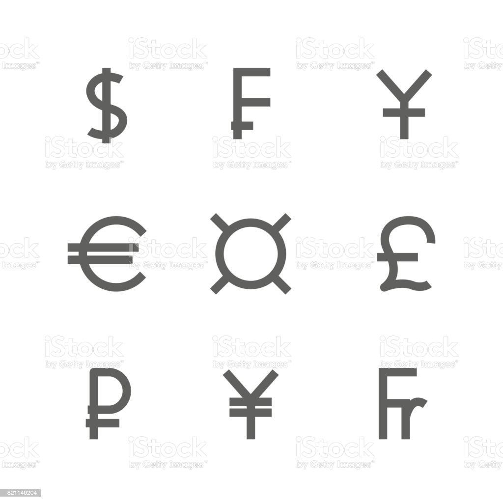 Banque Vectorielle définissez des symboles des monnaies du monde illustration