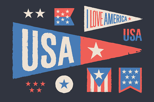 Set symbols USA. Vintage retro graphic flag, pennant