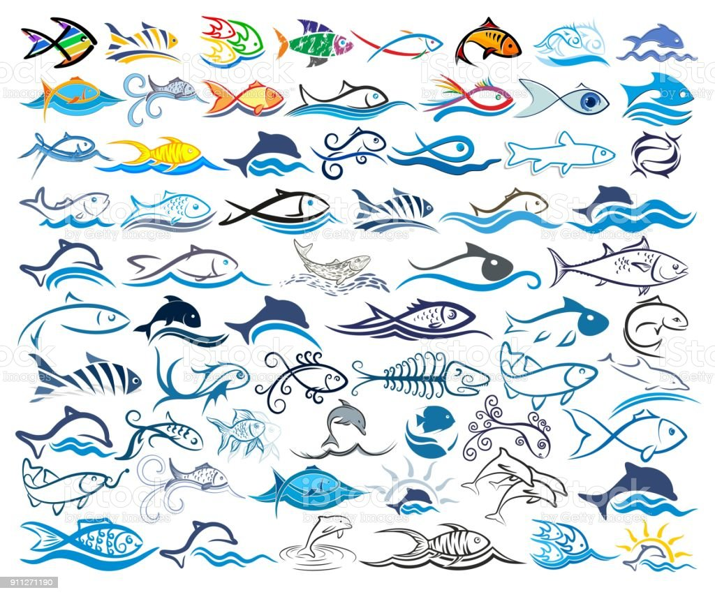 Set symbols with fishes. vector art illustration