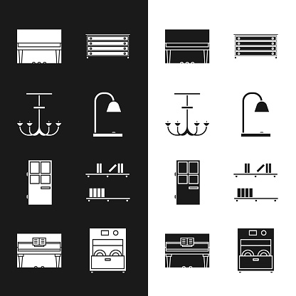 Set Table lamp, Chandelier, Grand piano, Chest of drawers, Closed door, Shelf with books, Kitchen dishwasher machine and icon. Vector