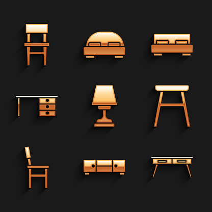Set Table lamp, Chest of drawers, Office desk, Chair, Big bed and icon. Vector