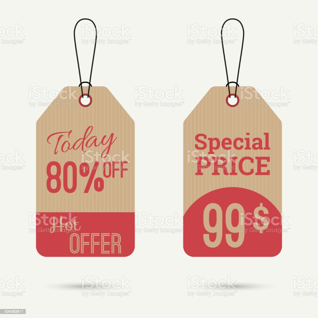Set tags with ribbons and labels vector art illustration