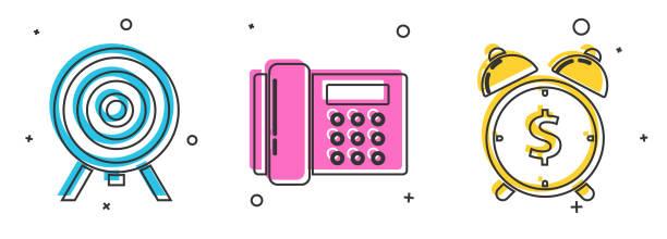 stockillustraties, clipart, cartoons en iconen met stel doel, telefoon en wekker met pictogram van het dollarsymbool in. vector - call center