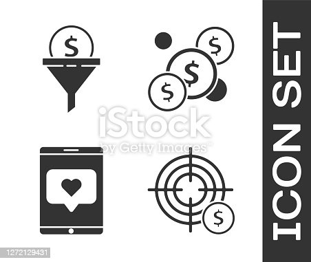 Set Target with dollar symbol, Lead management, Mobile phone and like with heart and Coin money with dollar icon. Vector