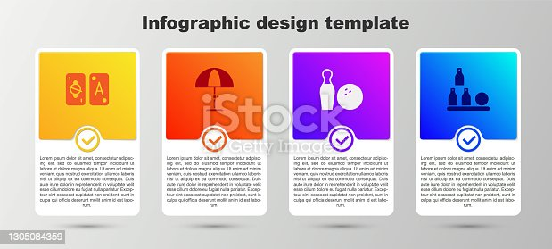 istock Set Tarot cards, Sun protective umbrella, Bowling pin and ball and Bottles. Business infographic template. Vector 1305084359