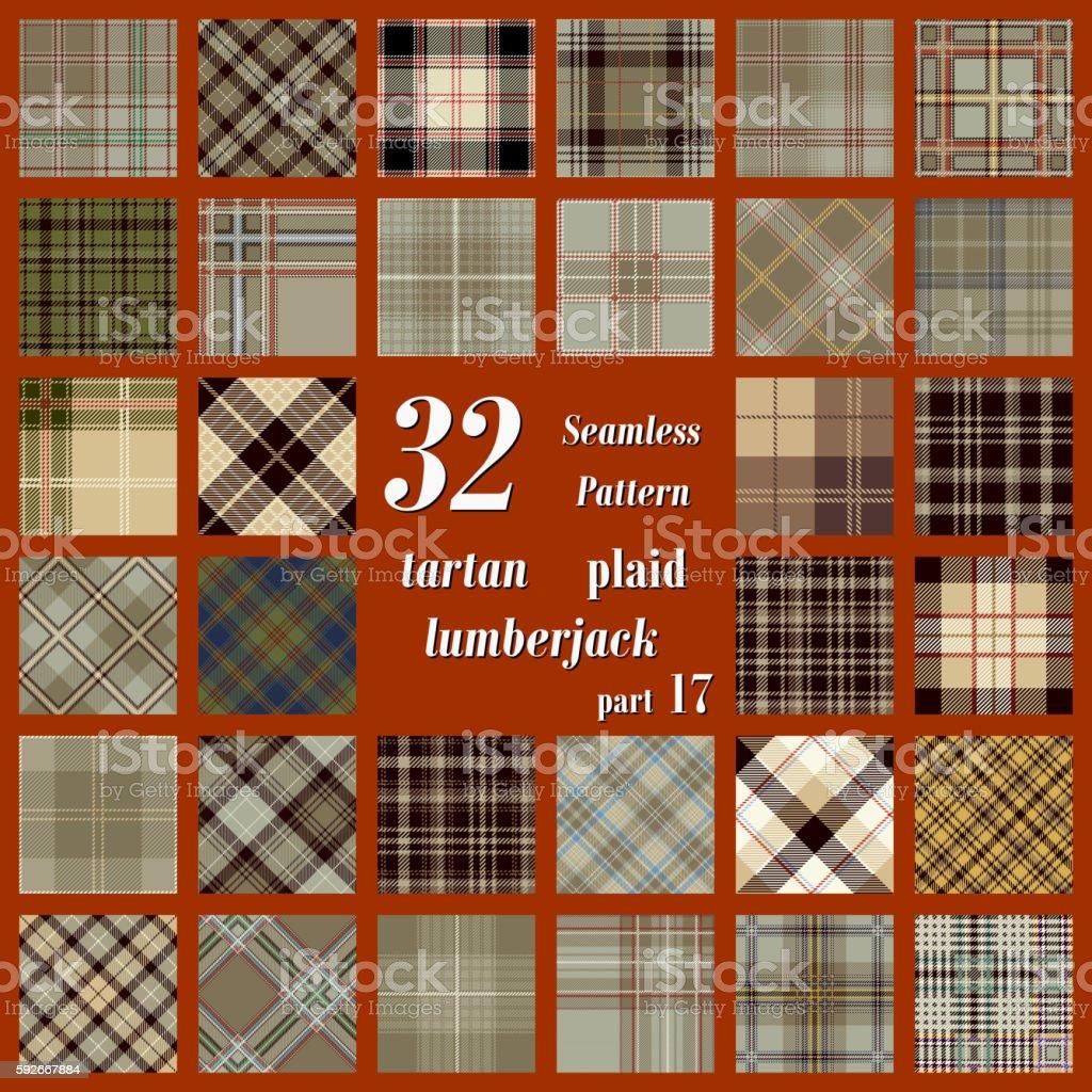 Set Tartan Seamless Pattern vector art illustration
