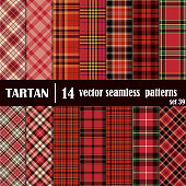 Set Tartan Seamless Pattern.