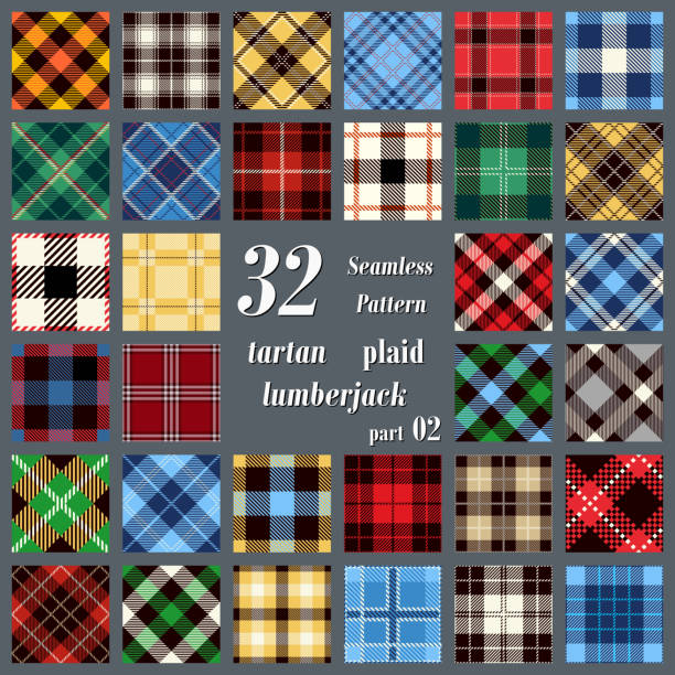 set tartan seamless pattern. - flannel backgrounds stock illustrations, clip art, cartoons, & icons