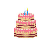 Colorful delicious desserts, birthday cakes with celebration candles and chocolate slices. Flat set of cake birthday vector icons for web design. Tasty sweet desserts isolated on white background.